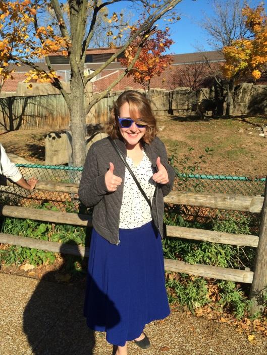 Skirt: Macy's catalog. Blouse: Loft. Jacket: Gap. Purse: Gift. Boundless Enthusiasm: Family Trait.